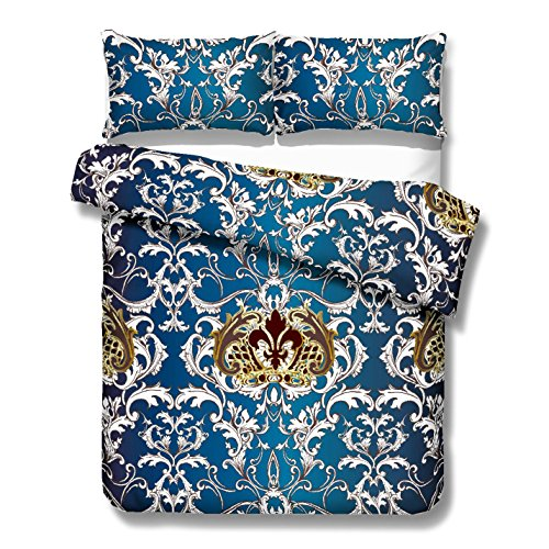 Elegant Indigo Blue and Gold Baroque Floral Damasks Lace Duvet Cover Set 3 Pieces Chic White Gold Floral Swirl Quilt Cover Bedding Set - And Indigo Gold