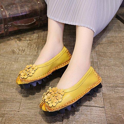 Sunrolan Vrouwen Handwerk Multi-style Leer Vallen Nieuwe Platte Bloem Patroon Instappers Loafer Schoenen Style3-geel