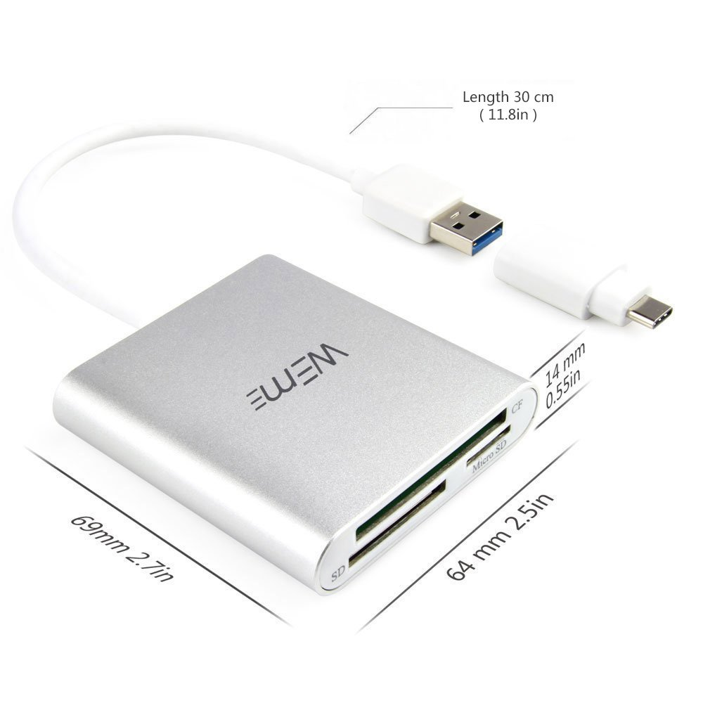 Compact Flash CF Card Reader, WEme Aluminum Multi-in-1 USB 3.0 Micro SD Card Reader with 2-in-1 Type C Adapter for PC, Mac, Macbook Mini, USB C Devices, Support Sandisk/ Lexar UHS, SDHC Memory Card by WEme (Image #4)