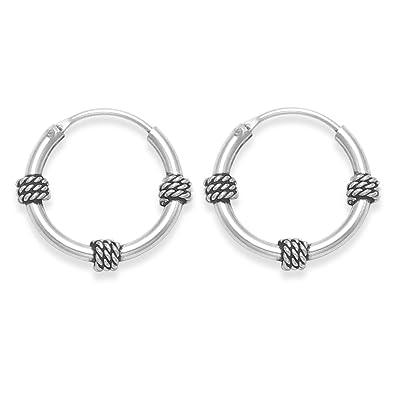 Heather Needham Sterling Silver Medium Bali Hoop earrings, Ball & twist wires - Size: 19mm 6210/B43HN