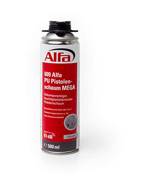 Alfa - Espuma de poliuretano 1K, color gris, 500 ml, 1 ...