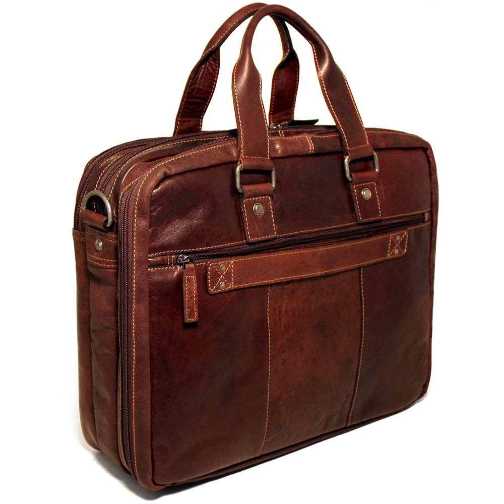 Jack Georges Voyager Large Triple Gusset Briefcase With Travel Compartment 7328