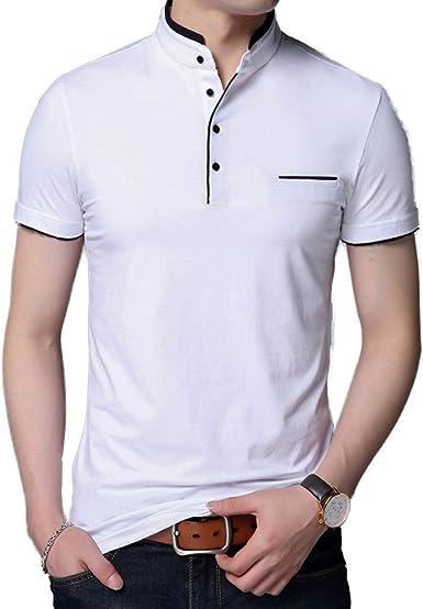 Hombres Manga Corta Cuello Camisa Polo Camiseta Verano Camisa Juventud Delgado Sólido Informal Media Manga, White-XXXL: Amazon.es: Ropa y accesorios