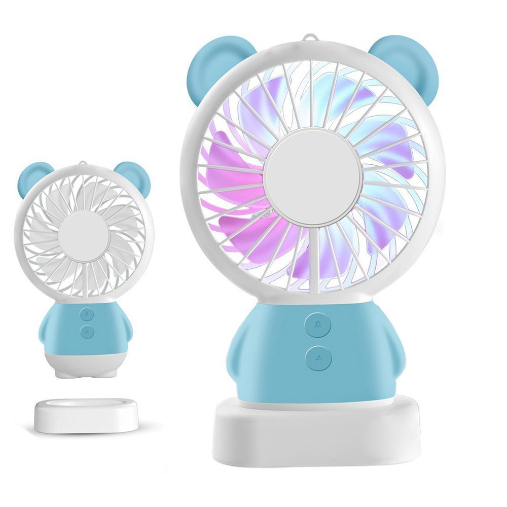 RingRingshop®® Handheld Small Fan Portable Rechargeable Mini Cooling Fan Multi-color LED Light Linglong rabbit Fan Standable Hanging Fan Gifts for Home Travel Indoor Outdoor Baby Kids (Blue Bear) China