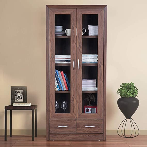 HomeTown Stark Engineered Wood Book Shelf in Walnut Colour Bookcases