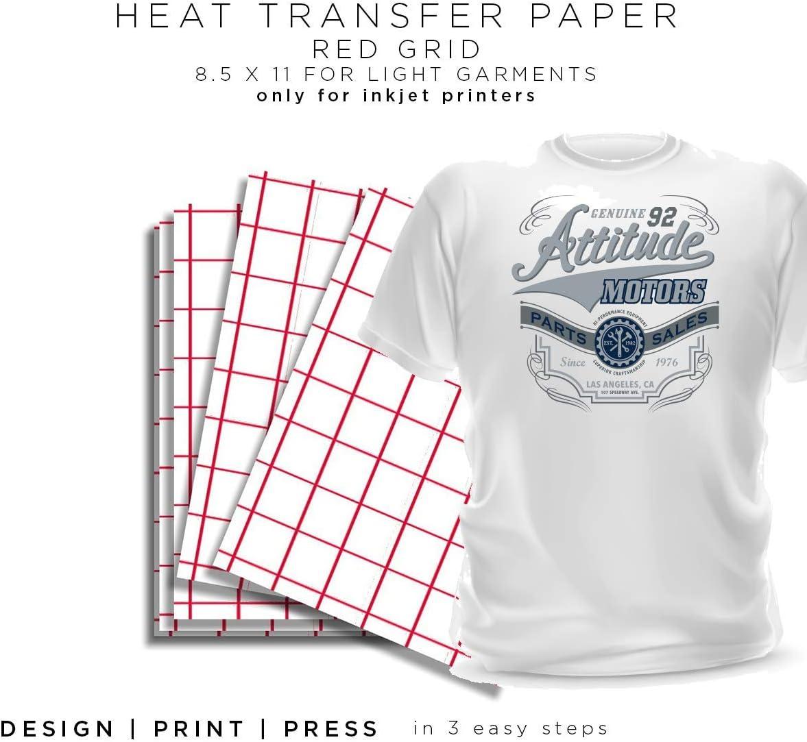 HEAT TRANSFER PAPER RED GRID IRON ON LIGHT TSHIRT 100 Sheets 8.5x11