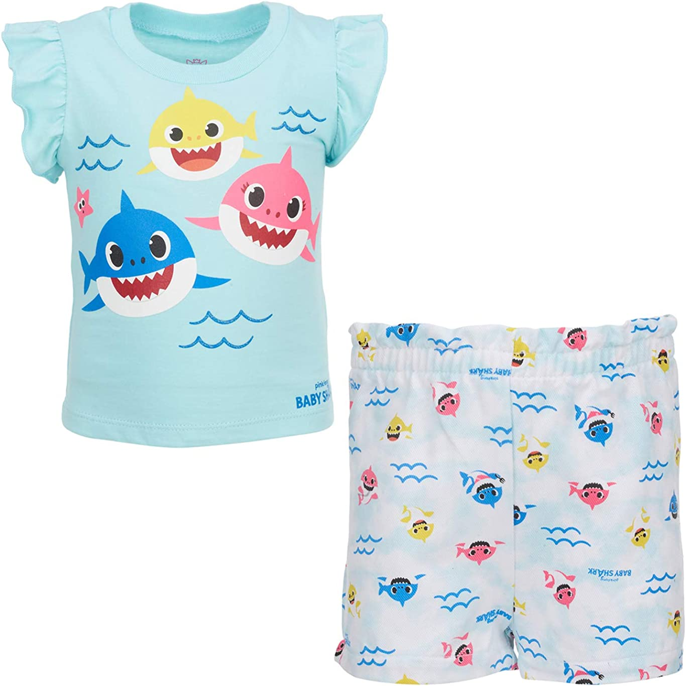 Pinkfong Baby Shark Girls Short Sleeve T-Shirt & Shorts Set