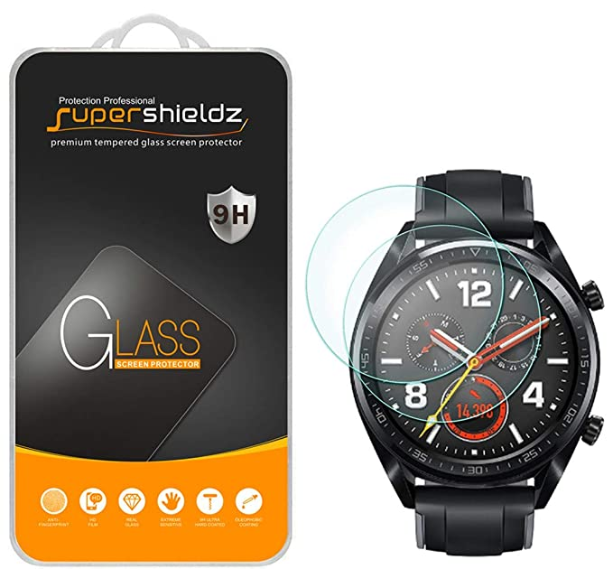 (2 Pack) Supershieldz for Huawei Watch GT Tempered Glass Screen Protector, Anti Scratch, Bubble Free