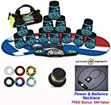 Speed Stacks Combo Set 'The Works'': 12 Black TATTOO 4'' Cups, Atomic Punch Gen 3 Mat, G4 Pro Timer, Cup Keeper, Stem, Gear Bag + Active Energy Necklace