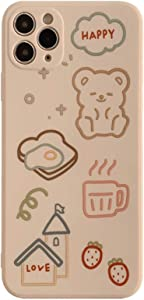 YLFC Cute Cartoon Bear Label Korean Phone Case for iPhone 12 11 Pro Max X Xs Max Xr 7 8 Plus SE 2020 Cases Soft Silicone Cover (Color : 1, Size : for iPhone SE 2020)