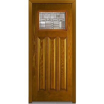 National Door Company Z022053L Fiberglass Prehung Left Hand Inswing Entry  Door, Oak Park Decorative Glass