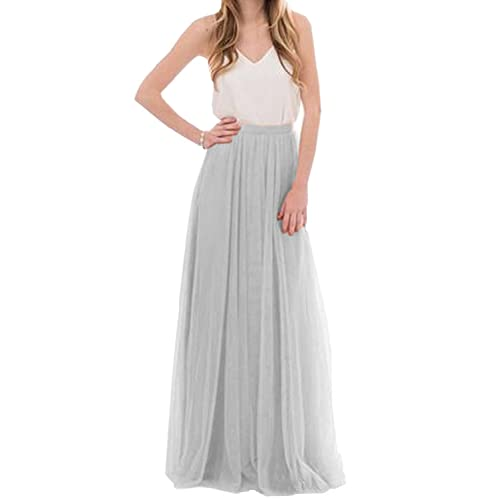 Omela Women Long Maxi Skirts 3 Layers Tulle Wedding Prom Party Dress