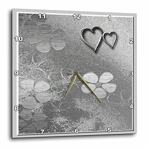 3dRose dpp_15250_1 Wall Clock, Two Silver Heart with Flowers, 10 by 10-Inch - Silver Heart Clock