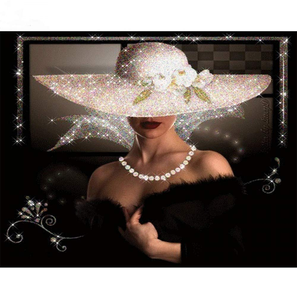 GMYANZSH Diamond Embroidery A Woman in A Hat 5d Diamond Painting Full Diamond Mosaic 3D Picture of Rhinestones Cross