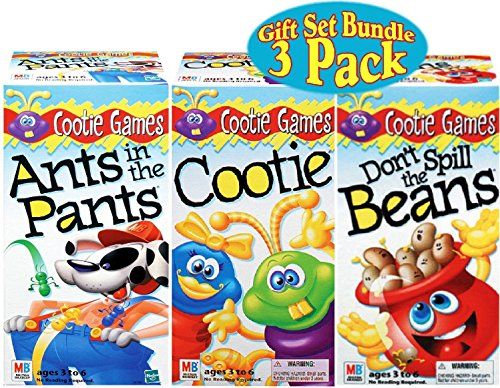 Kids Holiday Gift Set Games Ants in the Pants, Cootie & Don't Spill the Beans Gift Set Bundle - 3 Pack (Village Homemade Cardboard Christmas)