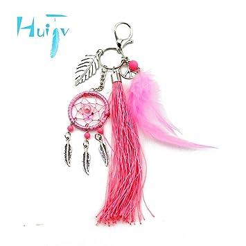 huijv llavero llavero rosa plumas Atrapasueños llavero moda ...
