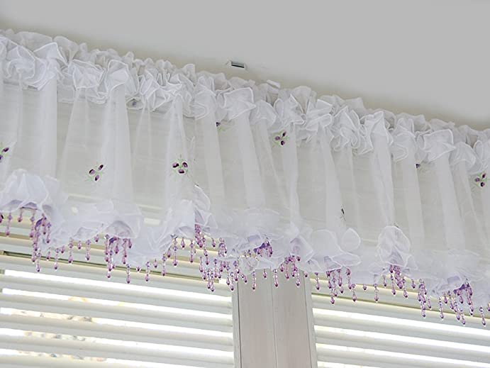 sheer valances window treatments kitchen curtains purple beads curtain sheer valance embroidered kitchen bedroom window treatment 59 15quot amazoncom