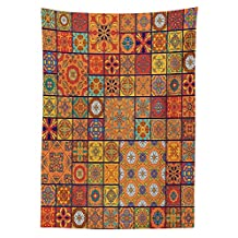 Moroccan Decor Tablecloth Collection of Moroccan Style Geometric Patterns Floral Ornamental Patchwork Print Dining Room Kitchen Rectangular Table Cover Orange Red