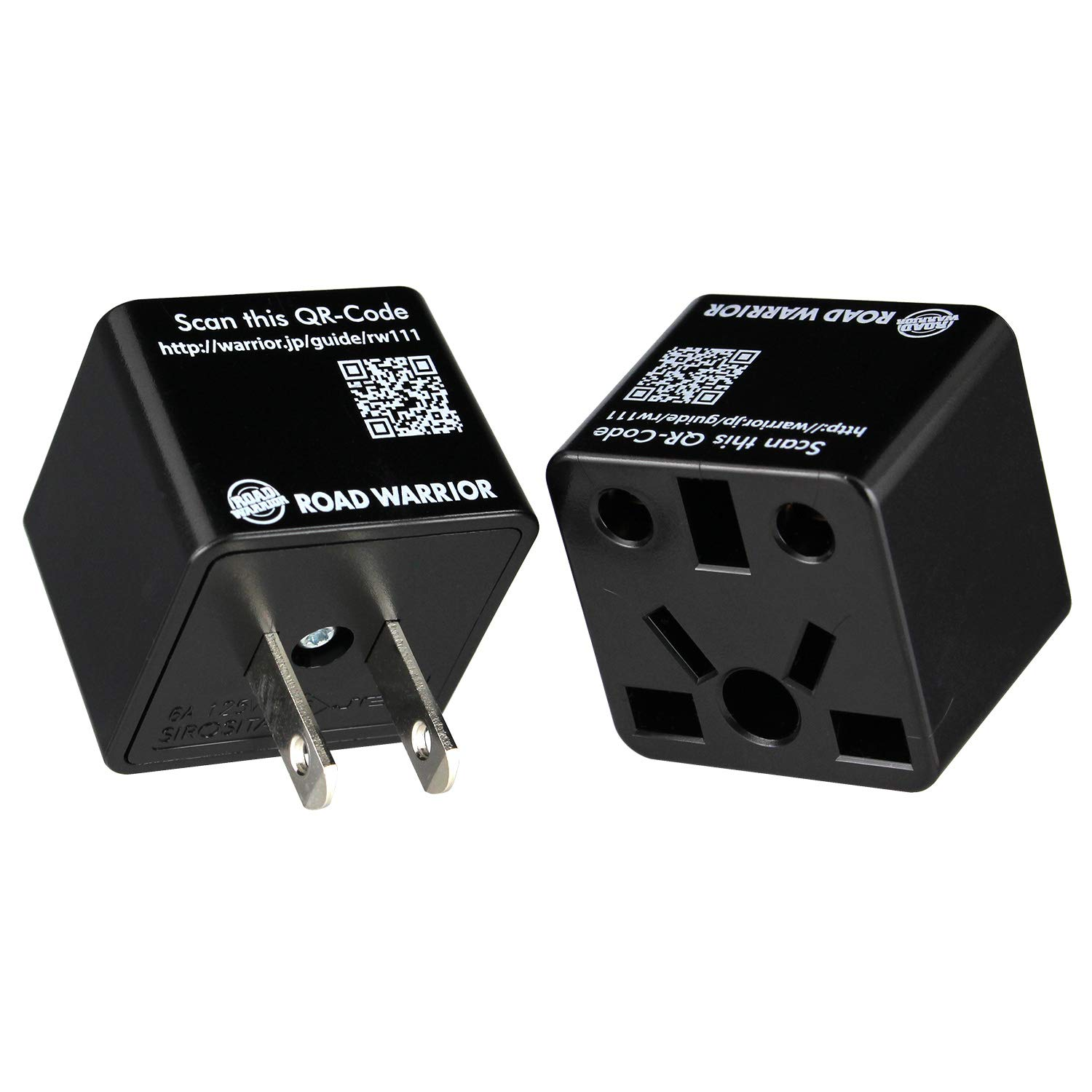 [2 Pack] ROAD WARRIOR US Travel Plug Adapter EU/UK/CN/AU/IN to USA (Type A) - RW111BK-US