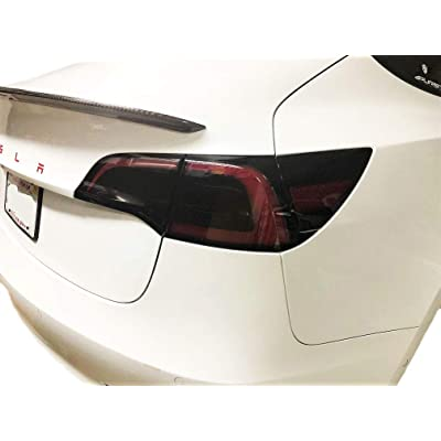 AY Customs Tesla Model 3 Black Gloss Taillight Smoke Out Tint Vinyl Film Cover Overlay Mask Pair - Easy Install: Automotive