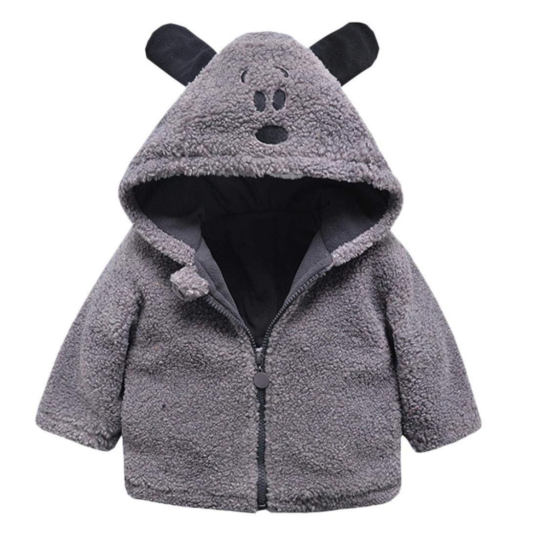 GBSELL Toddler Baby Kids Girls Boy Cartoon Thick Warm Jacket Outfits Clothes Fall Winter (Gray, 6-12 Months) by GBSELL Baby (Image #1)