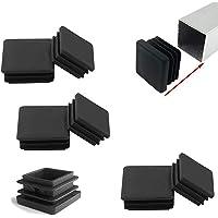 Zaky 6 tapones de láminas para tubos cuadrados de 80 x 80 mm, tapones para los pies, de plástico, cuadrados, color negro