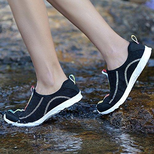 Chaussures Deau Unisexes Dathlétisme À Séchage Rapide Été Plage Chaussures De Bain Aqua Chaussettes De Marche Chaussures De Sport Pour Le Surf Yoga Leau Aérobic Noir