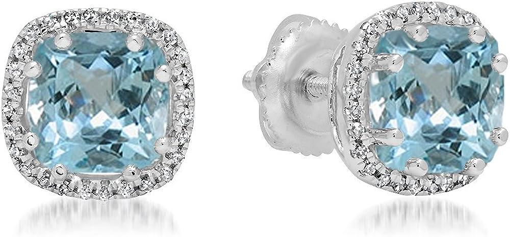18K blanco oro 6mm cada cojín Gemstone y Diamond Ladies Halo estilo Stud Pendientes