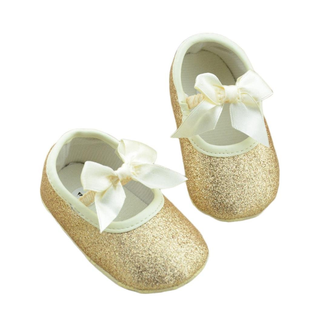 HP95(TM) Baby Girl Soft Sole Bowknot Bling Bling Shoes Prewalker Socks Sneakers