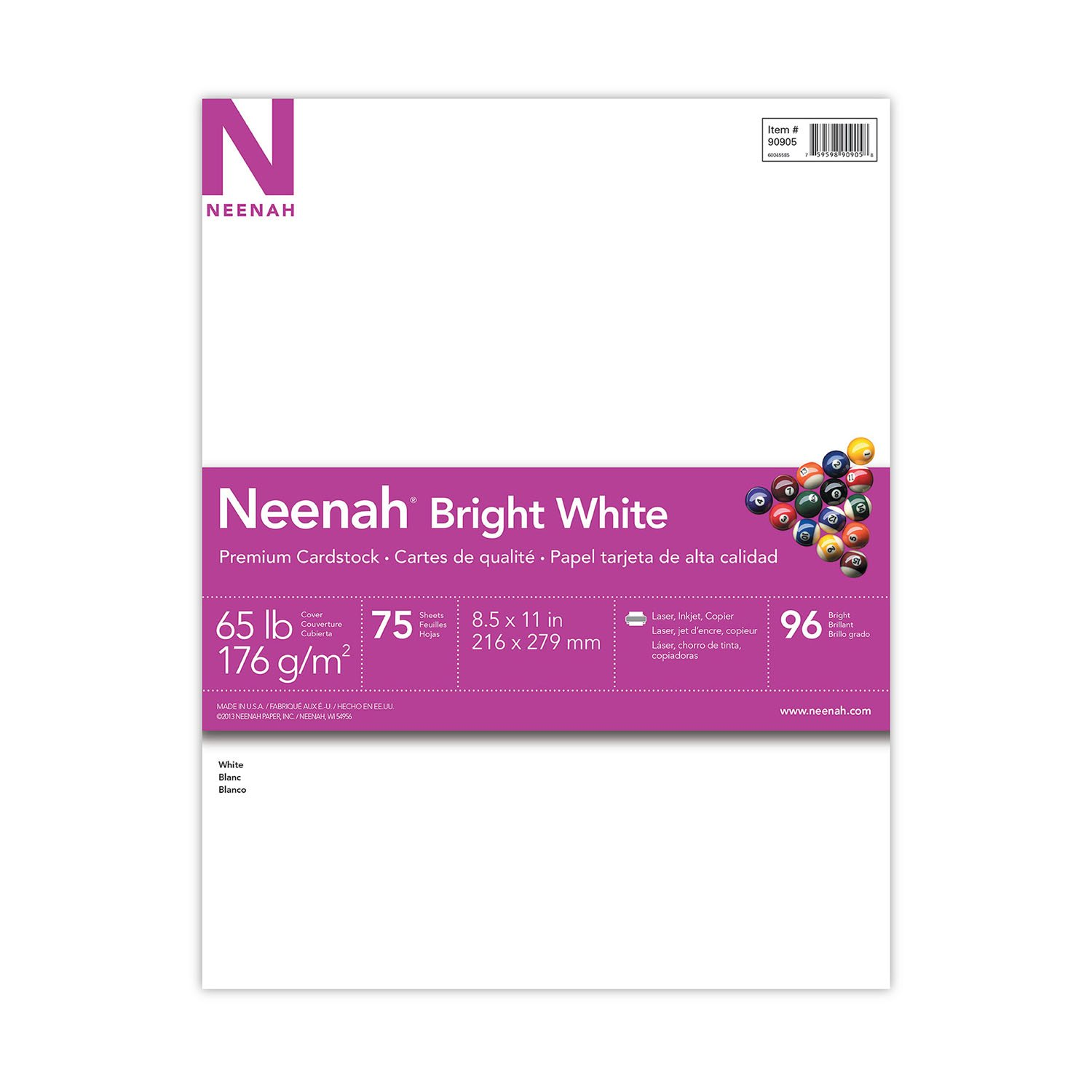 "Neenah Bright White Cardstock, 8.5""x11"", 65lb/176 gsm, Bright White, 75 Sheets (90905)"