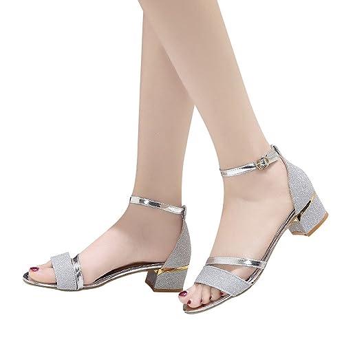 978f6ea3 Manadlian Sandalias Mujer Verano 2019, Sandalias De Lentejuelas De Mujer Moda  Sandalias De Tacón Medio
