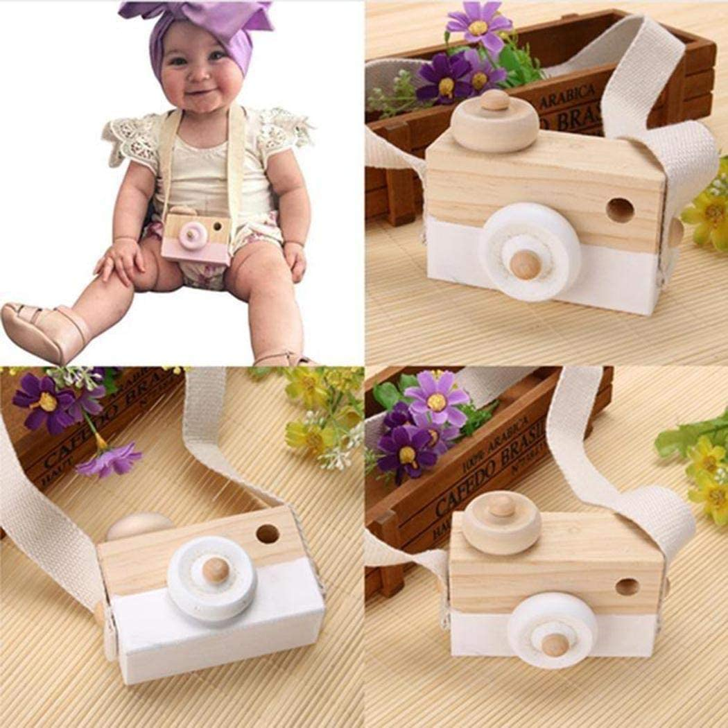 wenirn Wooden Mini Camera Toy Pillow Kids Room Hanging Decor Portable Toy Gift for Kid Children Boy Girl