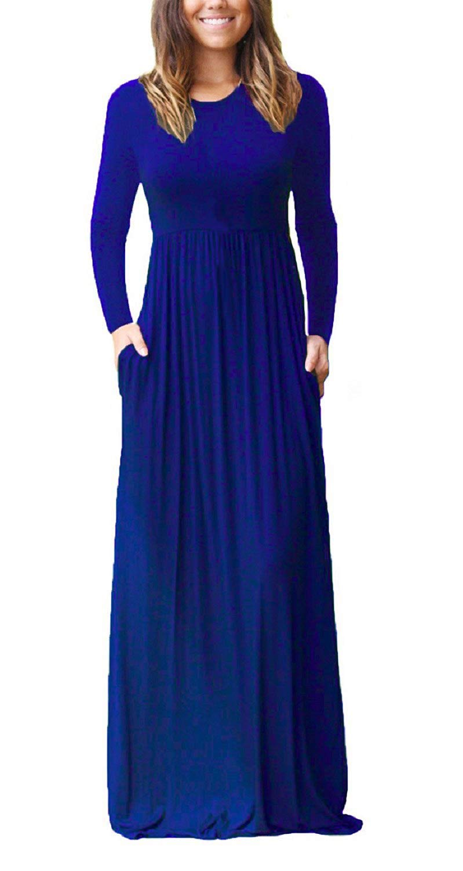 HIYIYEZI Women Round-Neck Loose Plain Maxi Dresses Casual Long Dresses with Pockets (2XL, Royal Blue)