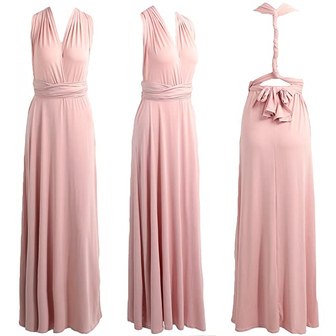 premium selection 07044 f25aa Infinity Kleid, Ballkleid, Brautjungfernkleid, Gr. 34-42 rosa/rosé, lachs,  Wickelkleid lang, 70 verschiedene Wickelarten, convertible dress, ...