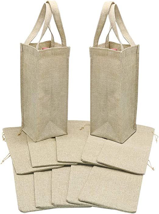 Amazon Com Hrx Package 2 Bottle Wine Gift Bags 2pcs With 10pcs Burlap Wine Bags Drawstring Jute Wine Carrying Bag With Handles Cloth Wine Bottle Gift Bags Set Everything Else