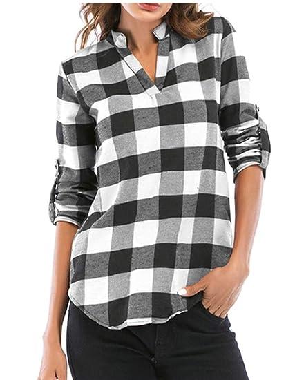 767ae55554e Hokny TD Women Classic Plaid Tunic Tops V Neck Roll-up Sleeve Blouses T  Shirt at Amazon Women's Clothing store: