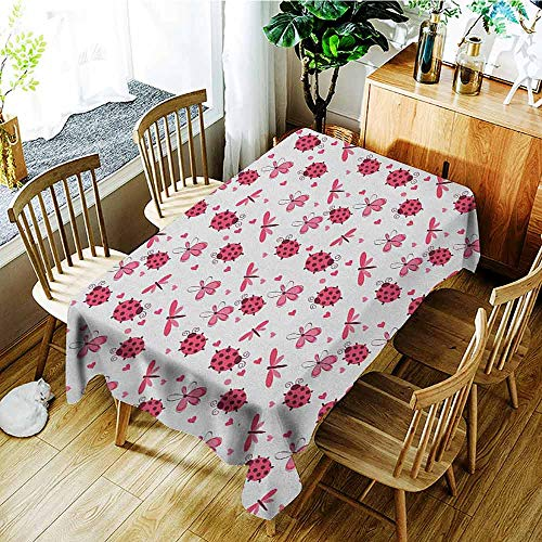 - XXANS Washable Tablecloth,Ladybugs,Domed Back Round Ladybugs with Hearts Flowers Dragonflies Romantic Wings Pattern,Party Decorations Table Cover Cloth,W54x72L Red White