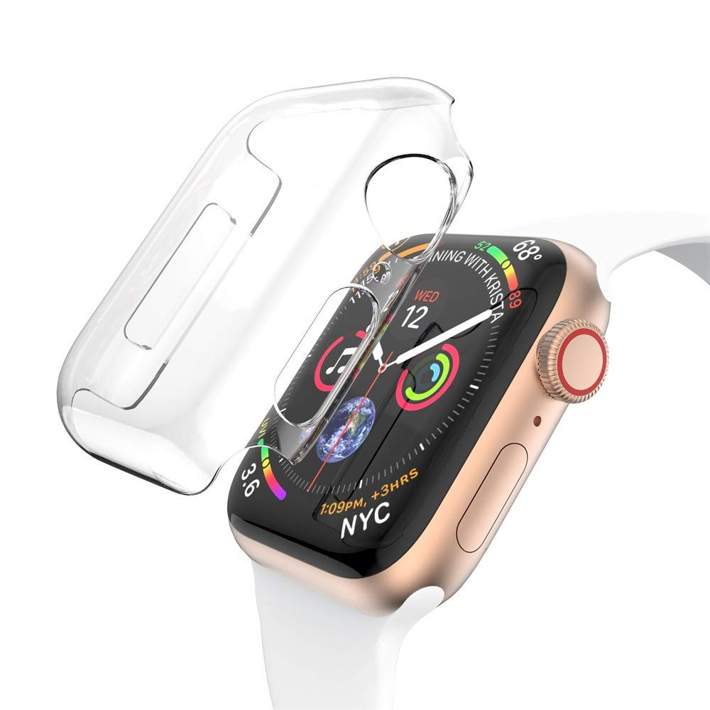 Tharv❤Ultra Thin PC Clear Cases Protective Bumper Case Cover for Apple Watch 4 44mm