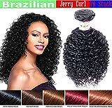 "JERRY CURL Brazilian Bundle Hair CURLY Virgin Hair Weave GREAT DEAL 100% Human Hair GUARANTEED or Extension Beautiful NATURAL BLACK Color -8"""