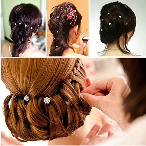 F-eshion Youpin 20Pcs Pearl Flower Rhinestone Hair Pins Party Prom Wedding Bridal Bridesmaid Clips