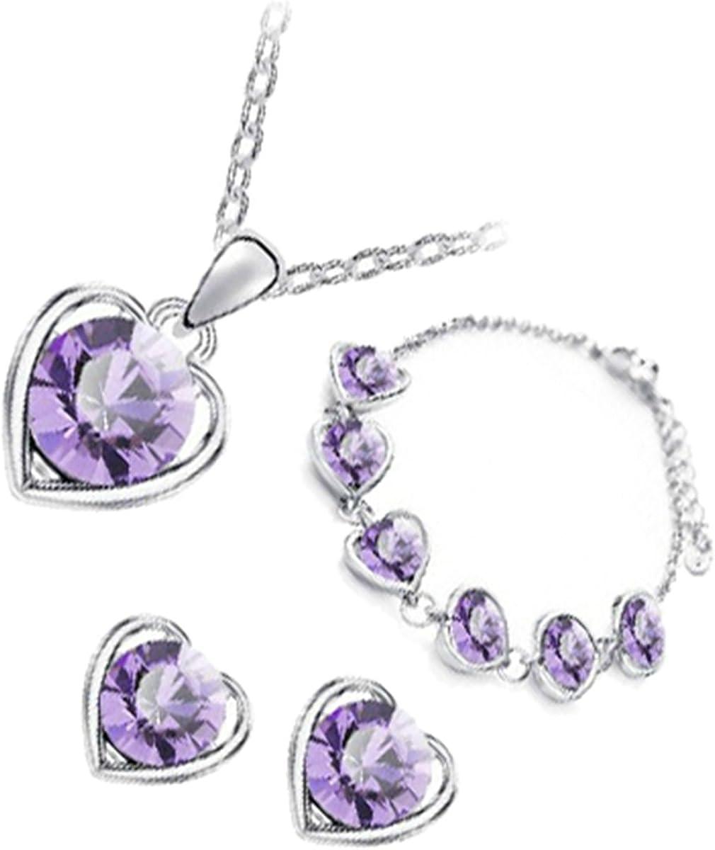 GWG Jewellery Juego de Joyas Mujer Regalo Conjunto Collar, Pendientes y Pulsera, Chapado en Plata de Ley Cristal Redondo Colorado Encuadrado en Corazón para Mujeres