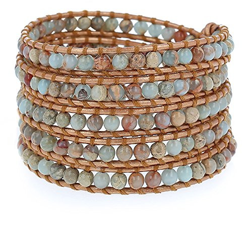 Chan Luu Jasper Wrap Bracelet on Bronze-tone Leather BS-1289 by Chan Luu