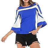 JWK Women's Flare Sleeve Contrast Color Round-Neck Loose Cold Shoulder Blouse Top Zipper T-Shirts