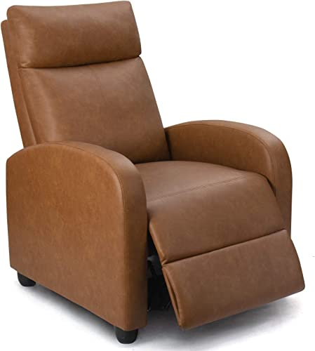 Homall Recliner Chair Padded Seat PU Leather for Living Room Single Sofa Recliner Modern Recliner Seat Club Chair Home Theater Seating Khaki