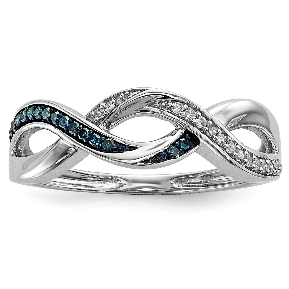 925 Sterling Silver Blue And White Round Diamond Promise Ring Size 8 (0.1ct)