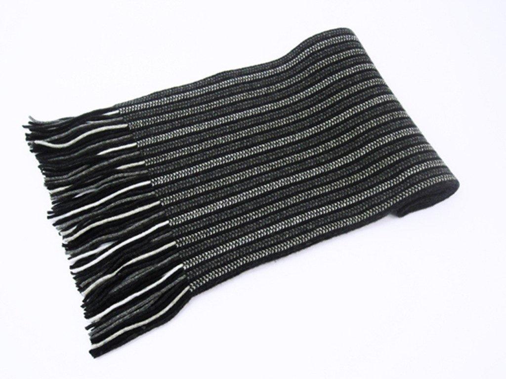 Oxfords Cashmere 2 Ply Pure Cashmere Men's Stripe Scarf, Grey-One Size