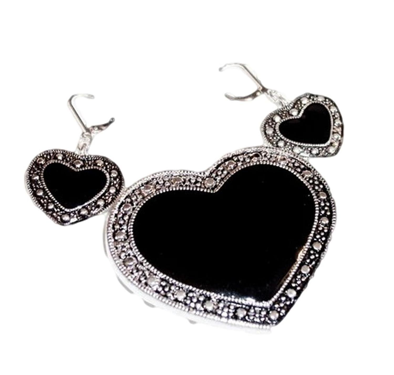 Heart Pendant Brooch Earrings Z8 Pin Marcasite Style