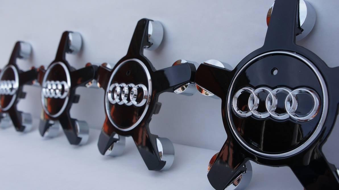 Lot de 4 enjoliveurs Audi 72 mm Noir 12254