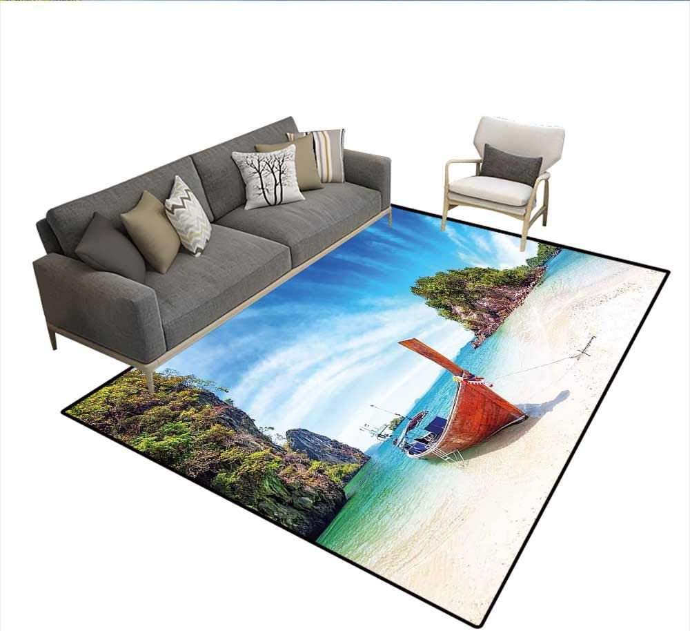 Floor Mat Surreal Beach In Thailand With An Old Wooden Boat Island Ocean Picture 18895d Printing Area Rug Fern Green Blue Cream 5 X8 Amazon Co Uk Kitchen Home