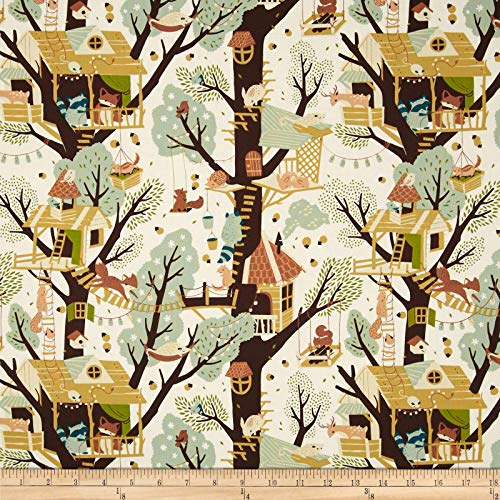 Birch Organic Fabrics Birch Organic Tree Fort Cream Ivory, Fabric by the Yard